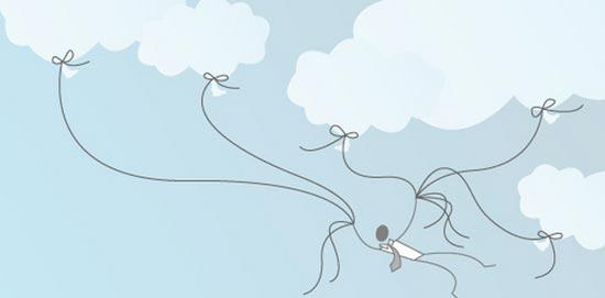Samir Jajjawi Prozess: Gezeichnetes Männchen hält sich an Seilen an Wolken befestigt fest